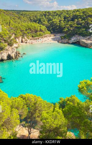 View of Cala Mitjana, Menorca, Balearic Islands, Spain - Stock Photo