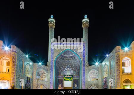 Masjed-e Shah or Shah Mosque at night, Naqsh-e Jahan or Imam Square, Esfahan, Iran - Stock Photo
