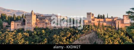 View of the Alhambra from the Mirador de San Nicolas, Granada, Spain - Stock Photo