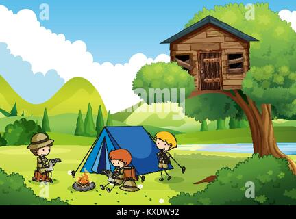 Boyscouts camping in the woods illustration - Stock Photo