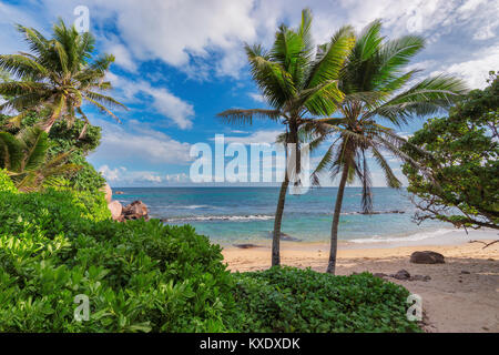 Beautiful view of a wild tropical beach in southern part of Saychelles in sunny day. - Stock Photo