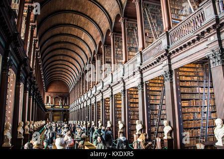 The Long Room, Trinity College Library, Dublin, Ireland - Stock Photo