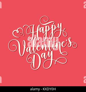 valentines day oblique lettering handwritten romantic greeting card