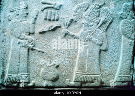 Hittite Bas-Relief or Relief Carving of Hittite Figure Pouring Water, c2nd Millennium BC, Anatolia, Turkey - Stock Photo