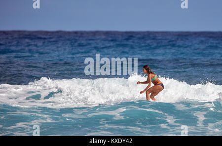Surfer school. Beautiful young woman in swimsuit. Surfer on the wave. beautiful ocean wave. Water sport activity. - Stock Photo