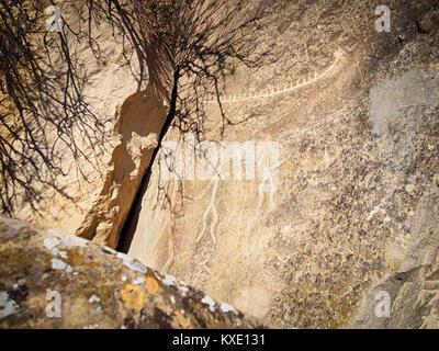 Real petroglyphs in the Gobustan National Park, Azerbaijan - Stock Photo