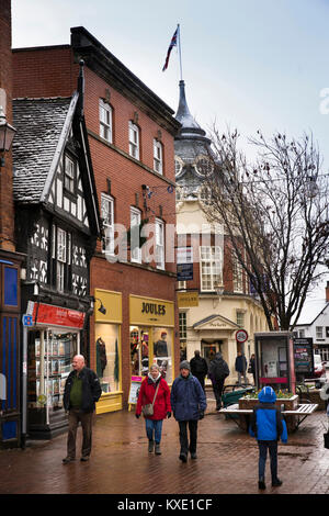 UK, England, Cheshire, Nantwich, old half timbered house at High Street and Hospital Street Junction - Stock Photo