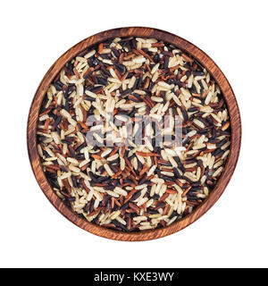 Mixed rice in wooden bowl isolated on white background. Black, red, brown, basmati rice mix. Top view - Stock Photo