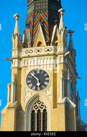 Close up of a clock tower of the Name of Mary Church. Novi Sad, Serbia - Stock Photo