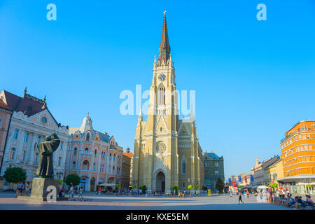 NOVI SAD, SERBIA - AUG 26, 2017: People at the Liberty Square. Novi Sad is the second largest city in Serbia. - Stock Photo
