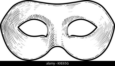 Venetian Mask Illustration Drawing Engraving Ink Line Art Vector Stock Vector Image Art Alamy