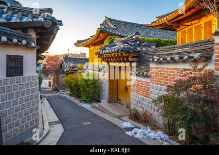 Seoul city skyline with Bukchon Hanok village in South Korea. - Stock Photo