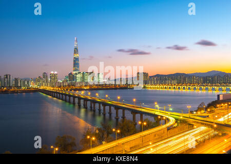 Seoul skyline at night in Seoul, South Korea. - Stock Photo