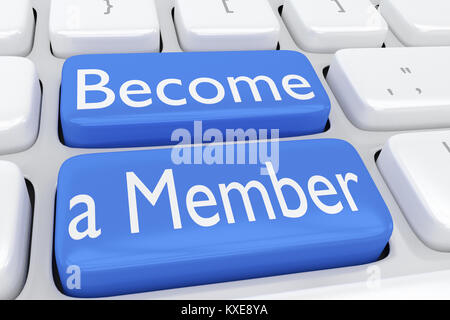 3D illustration of computer keyboard with the script Become a Member on two adjacent blue buttons - Stock Photo