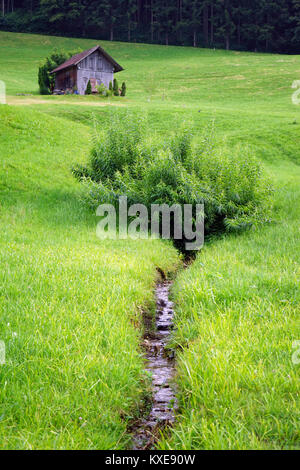 Wooden shed and small river on the green grass in Switzerland - Stock Photo