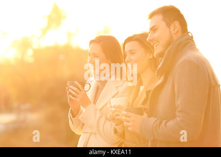 Three happy friends looking away at sunset in a park in winter - Stock Photo