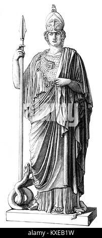 Statue of the goddess Pallas, Athena Giustiniani, ancient Greek religion - Stock Photo