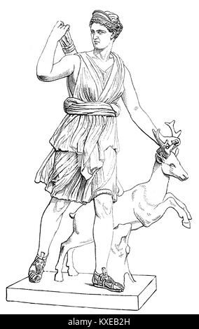 Artemis or the Diana of Versailles, a Roman copy of a Greek sculpture by Leochares, Louvre Museum, Paris, - Stock Photo
