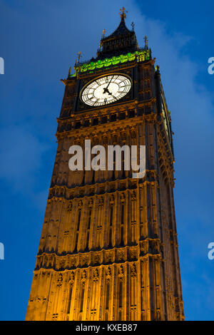 The Elizabeth Tower more commonly referred to as Big Ben at the end of the Houses of Parliament in Londons Westminster - Stock Photo