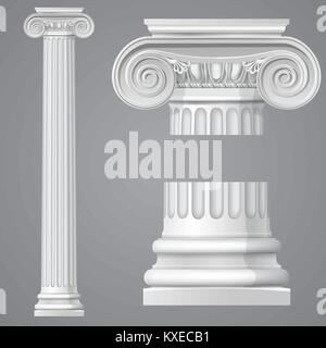 Realistic antique ionic column isolated - Stock Photo