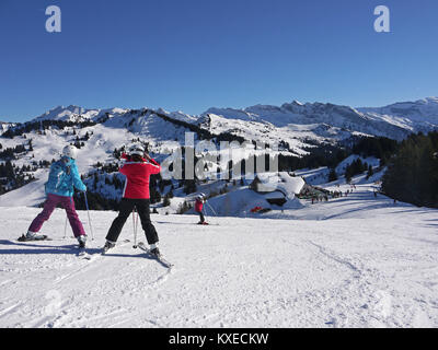 Above the Mouflon Restaurant in the ski and snowboard resort of Les Gets, France - Stock Photo