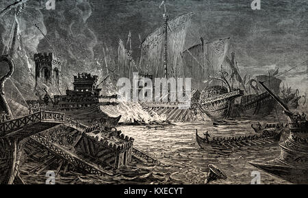 The Battle of Actium on 2 September 31 BC, Ionian Sea, Greece - Stock Photo