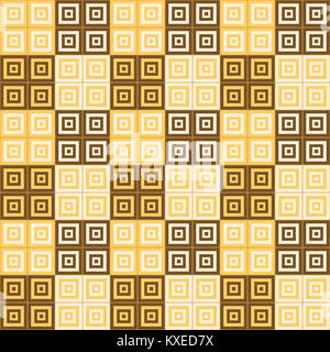 brown and yellow squares inside squares cube pattern background wallpaper - Stock Photo