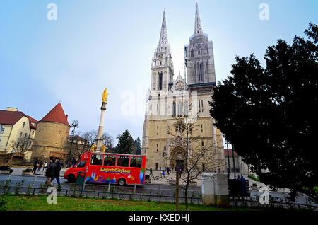 Zagreb, Croatia. Kaptol square The Assumption of Mary Gothic Cathedral. - Stock Photo