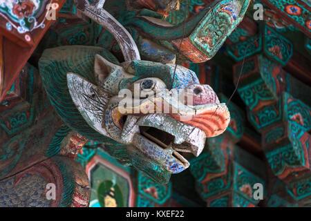Carved dragon detail at Pulguksa Temple, Kyongju, South Korea. - Stock Photo