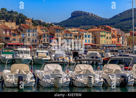 A view of the harbour and surrounding buildings at Cassis, Bouches-du-Rhone, France - Stock Photo