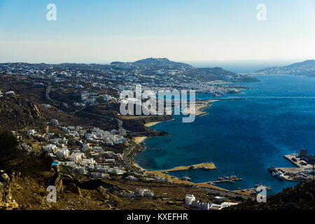 Mykonos, Greece panoramic day view. Landscape view of Mykonos Town - Chora and whitewashed houses. - Stock Photo