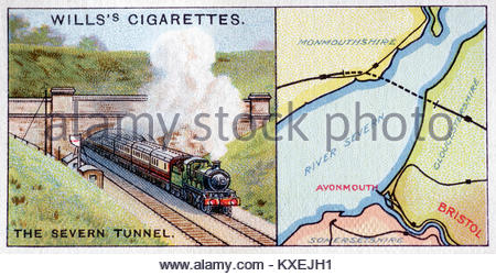 Depiction of The Severn Tunnel passing under the River Severn - Stock Photo