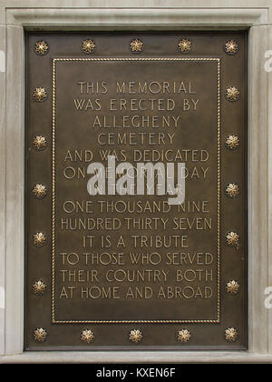 Allegheny Soldiers' Memorial, Allegheny Cemetery, 2015-04-15, 02 - Stock Photo