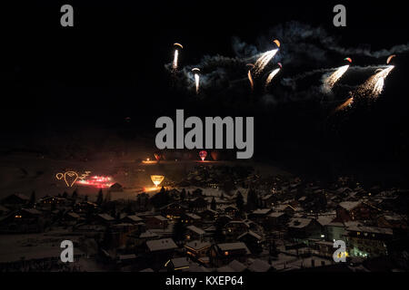 Night Glow Spectacle at the Ballon Festival, Chateau d' Oex, Vaud, Switzerland - Stock Photo
