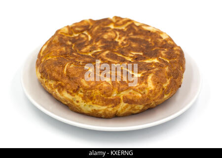 Traditional Spanish tortilla isolated on white background - Stock Photo
