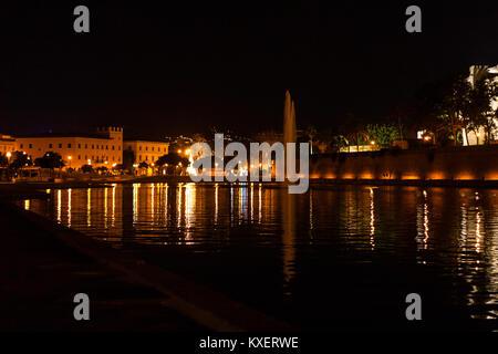 Night view of the lake with a fountain in Parc de la Mar (Parque de la Mar). Palma, Majorca, Spain - Stock Photo