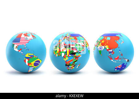 3D rendering of three World globes with continents and their countries with superimposed national flags on white - Stock Photo