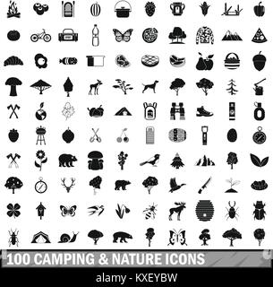 100 camping and nature icons set in simple style - Stock Photo