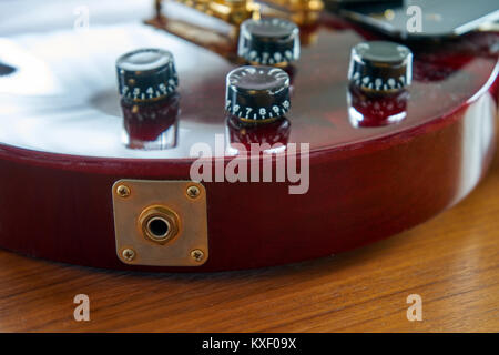 Input Jack On a Shiny Wine Red Guitar With Golden Hardware Placed On A Wooden Table - Stock Photo