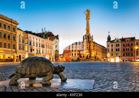 Night Photo of Square and Holy Trinity Column in Olomouc - Stock Photo