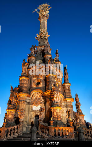 Night Photo of Holy Trinity Column - Stock Photo