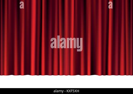 Red closed curtain in a theater or ceremony for your design. Draped Theatrical scene isolated on white. vector illustration. - Stock Photo