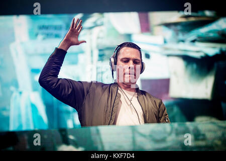 The Dutch record producer and DJ Tijs Michiel Verwest is best know by his stage name Tiësto (Tiesto) and here performs - Stock Photo