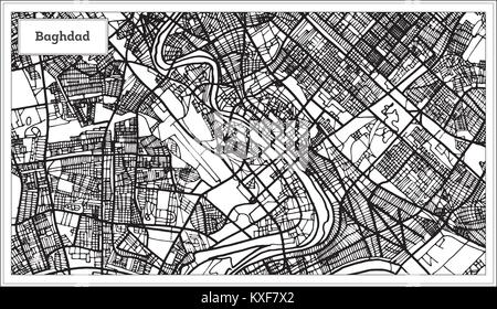 Baghdad Iraq City Map in Black and White Color. Vector Illustration. Outline Map. - Stock Photo