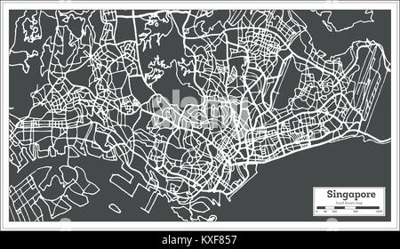 Singapore City Map in Retro Style. Outline Map. Vector Illustration. - Stock Photo
