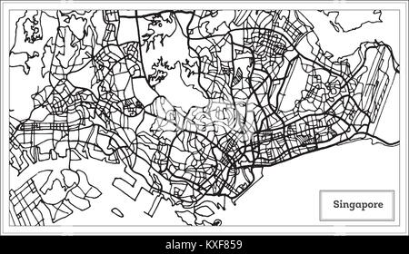 Singapore City Map in Black and White Color. Outline Map. Vector Illustration. - Stock Photo