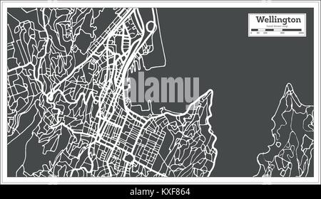 Wellington New Zealand City Map in Retro Style. Outline Map. Vector Illustration. - Stock Photo