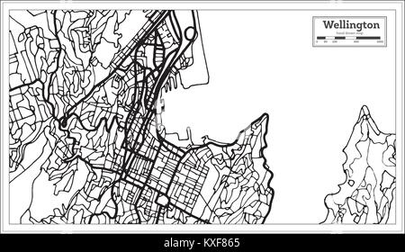 Wellington New Zealand City Map in Black and White Color. Outline Map. Vector Illustration. - Stock Photo