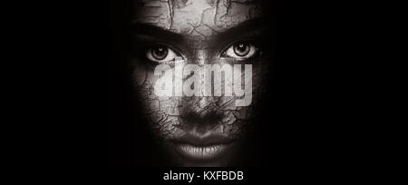 Dry skin concept. Woman with cracked peeling face texture - Stock Photo