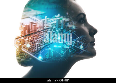 AI(Artificial Intelligence) concept. Woman profile and smart city. Mixed media. - Stock Photo